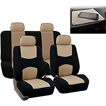 FH GROUP Bright Flat Cloth Full Set Car Seat Covers Beige Black W Free Gift Fit Most Truck Suv Or Van