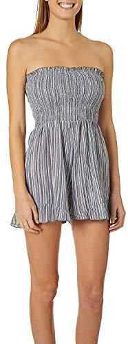 Eletina mlfl Eletina difts Juniors Striped Smocked Bodice Strapless Romper