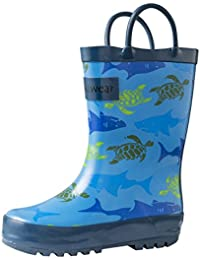 Kids Waterproof Rubber Rain Boots with Easy-On Handles