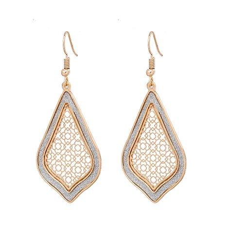 Filigree Dangle Earrings Women's Metallic Teardrop Glitter Filigree Drop Earrings (Gold)
