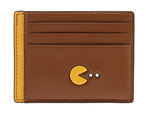 Coach Men's Pac-Man Leather ID Card Case Wallet, F56055 (Saddle) -