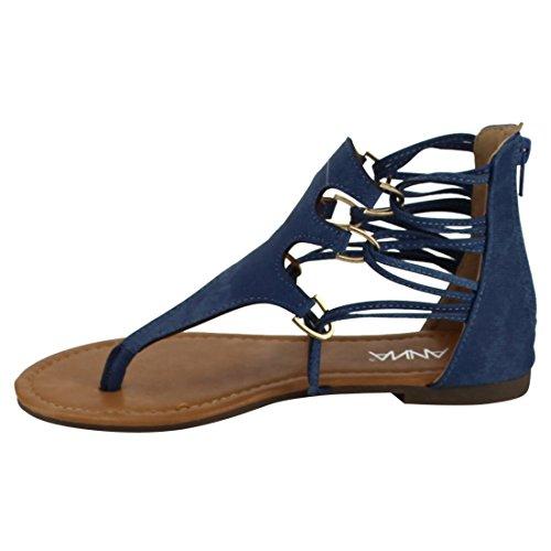Womens Gladiator Sandals ANNA FQ01 Back Flat Blue Strappy Zipper Thong 7Sq5w6