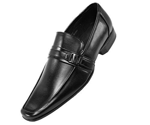 Amali Heren Soepele Moc Teen Slip Op Klassieke Jurk Schoen, Comfortabele Loafer, Stijl 8001 Zwart