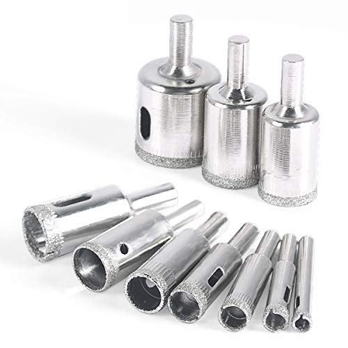 Diamond Drill Bit, 10 pcs Glass Hole Saw Set Extractor Remover Tools for Ceramics, Porcelain, Ceramic Tile 6mm – 30mm