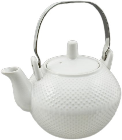 Elegant Ceramic Hobnail Teapot with Stainless Steel Handle 28 fl ounce Oriental Style Glazed Finish (White) ()