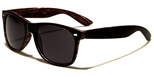 Bolsa Madera Unisex Conducción negro gris Gafas VIBRANT Clásico GRATIS COMPLETO Retro Estampado UV400 INCLUIDO Negro Reflectante De Deporte madera Sol Cabaña Protección Lentes XqXra