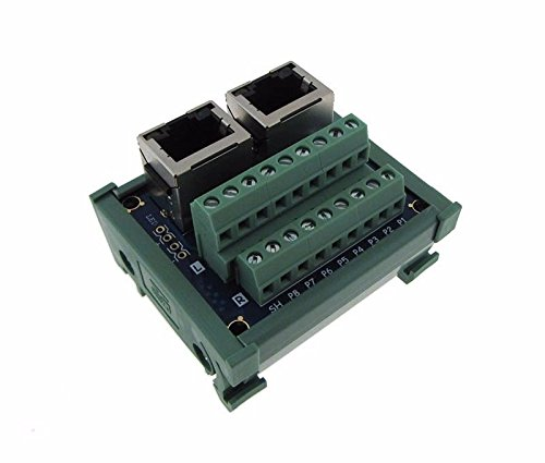 Dual RJ45 Ethernet Connector Breakout Board w/LED 180 Vertical Din Rail Mount