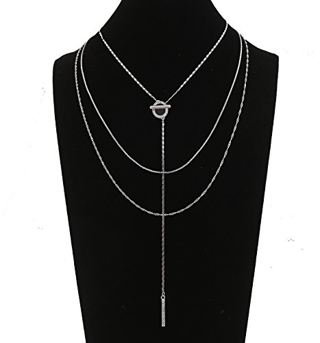 Seni Jewelry Triple Layered Chain Necklace OT Ring Rhinestone Bar Pendant Y Necklace Silver - Strand Triple Silver Necklace
