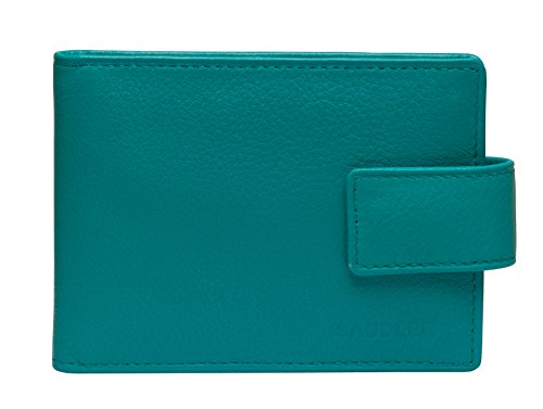 - SADDLER Real Leather 12 Credit Card Card Holder With Tab Closure - Teal Blue