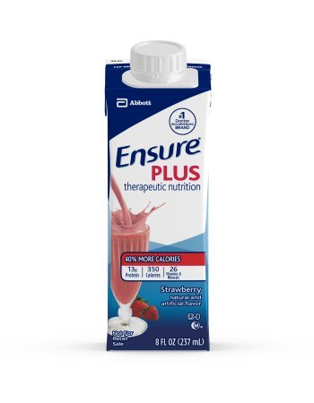 Ensure Plus Strawberry Therapeutic Nutrition, 8 Ounce Recloseable Carton, Abbott 64907 - Case Of 24 by Ensure