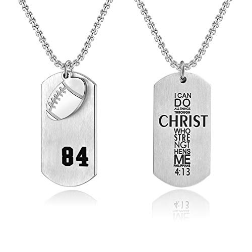 Men's Football Player Number 84 Stainless Steel Cross Dog Tag Pendant I Can Do All Things Bible Verse Necklace(Silver) ()