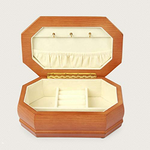 Octagon Desktop - KT Solid Jewelry Box Octagon Storage Cabinet Wooden Storage Box High-Grade Jewelry Necklace Stud Earrings for Women Make-Up Cases