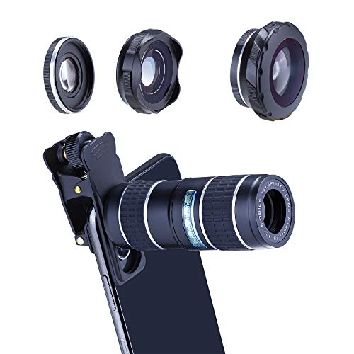 HXGD Phone Camera Lens Kit 12x Telephoto Lens 180° Fisheye Lens 0.36x Super Wide Angle Lens Macro Lens Suit iPhoneXS Max/X/XR/8/7/6 Samsung Andriod (Sliver)