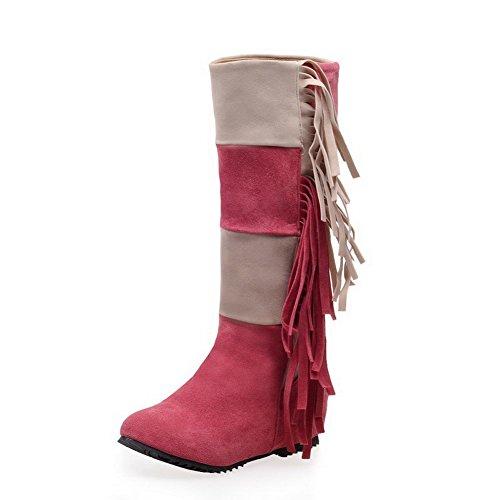 Allhqfashion Dames Lage Hakken Geassorteerde Kleur Rond Gesloten Neus Gematteerde Aantreklaarzen Roze