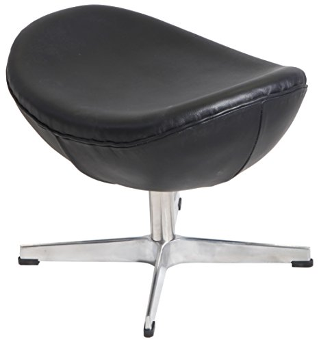 MLF Arne Jacobsen Egg Chair's Ottoman (5 Colors). 100% Imported Italian Leather & Hand Sewing. High Density Foam. 4 Star Satin Polished Aluminum Base. Strong Fiberglass Inner Shell.(Black)