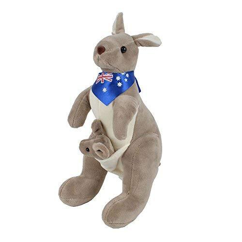 (Plush Kangaroo with Australia Scarf and Joey - Huggable Soft Stuffed Animals Toy- 11.8 Inches)