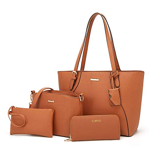 Bag Tote Medium Shoulder - ELIMPAUL Women Fashion Handbags Tote Bag Shoulder Bag Top Handle Satchel Purse Set 4pcs