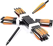 """GUU 12Pack Archery Crossbow Bolts Carbon Shafts 18 20 22 inch Hunting Crossbow Arrows with Orange 4"""" Vanes Hal"""