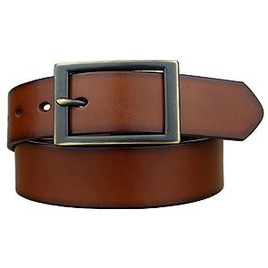 Bullko Men's Brown Belt Casual Genuine Leather Belts 1 3/8″ Wide