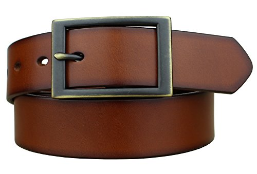 Bullko Men's Brown Belt Casual Genuine Leather Belts 1 3/8