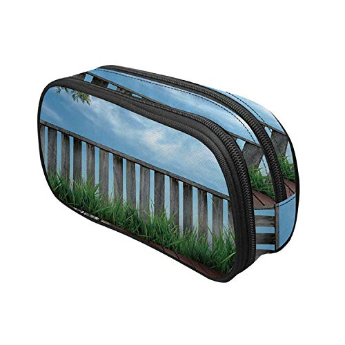 Patio Decor Utility Pencil Pouch,Wooden Seem Terrace Veranda with Olive Trees in Open Sky Photo for Work