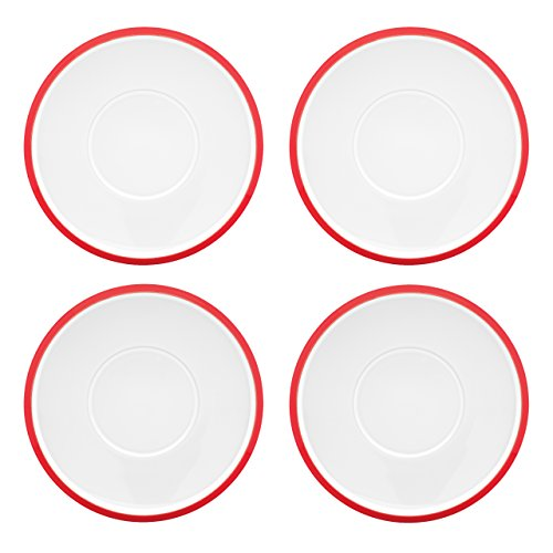 Four Piece Tea (Dansk Kobenstyle 4-Piece Teacup Saucer Set, Chili Red )
