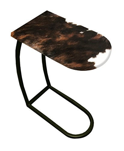 Accent End Side Table/TV Tray with a Black Metal Frame Featuring Your Choice of an Authentic Cowhide Covered Table Top (Dark Brown and White)