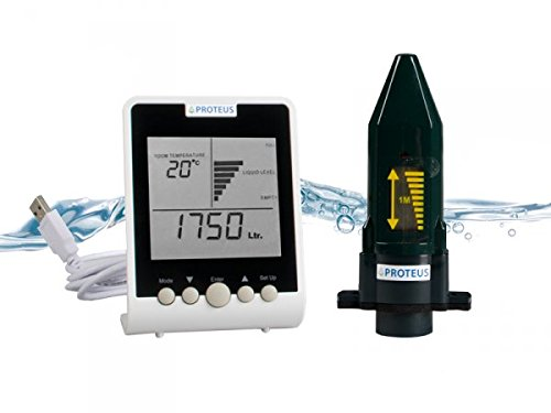 Cistern Water Level Monitor - Proteus EcoMeter S: Wireless Ultrasonic Level Sensor for Rainwater Tanks and Cisterns with Radio Transmission and separate Display (Cistern Water Tank)
