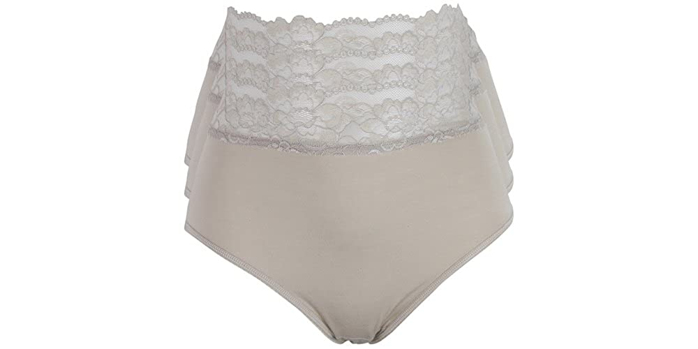 ex-Marks and Spencer High Leg briefs Lace//cotton 5 pack sizes 8,10,12,14,16 NEW