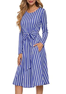 levaca Women's Flowy Striped Long Sleeve Pocket Modest Work Midi Dress with Belt