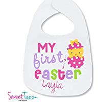 Personalized First Easter Bib Easter Bib Baby Girl My First Easter Bib 1st Easter Gift For Baby Girl