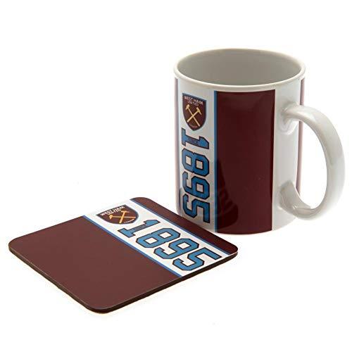 (West Ham United FC Official Mug And Coaster Set (One Size) (Claret/Blue/White))