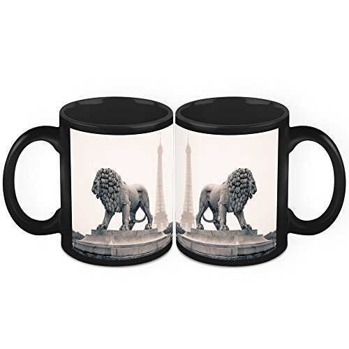 HomeSoGood Lion's Statue In Paris Black Ceramic Coffee Mug - 11 Oz (Set Of 2)