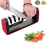 Hot One Kitchen Knife Sharpener 3-Stage Profession Handheld Knife Sharpening Tool with Free Cut-Resistant Glove, Black/Red, One Size