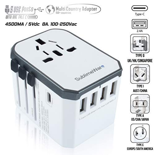 USB Type C Travel Power Plug Adapter (White Silver) - 5 USB Ports (4 USB Type A + 1 USB Type C) Wall Charger - for Type I C G A Outlets 110V 220V A/C - 5V D/C - EU Euro US UK - European Adaptor