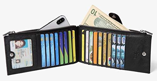 8408637b88cb Daisy Rose Women s Multi card Wallet PU Vegan Leather Clutch Handbag RFID  Blocking Organizer Card Holder with zipper pockets