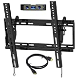 "Everstone Universal Tilting TV Wall Mount for 23-55"" Flat Screen TVs,Curved TVs up to VESA 400x400mm &125 LBS,Low Profile Tilt tv Bracket fits Single&16"" Wall Studs,with HDMI Cable & Bubble Level"