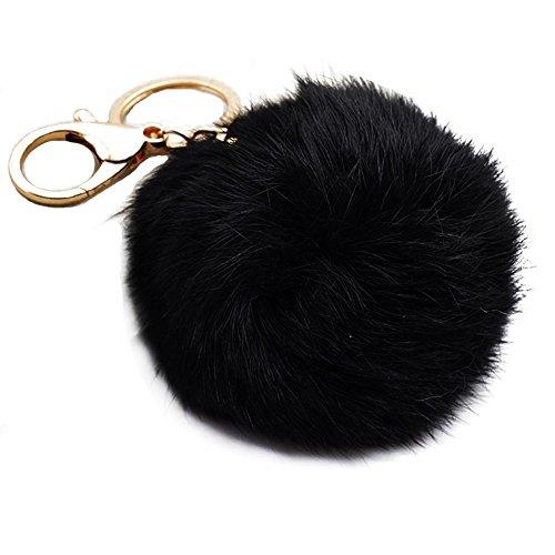 Miraclekoo Rabbit Fur Ball Pom Pom Key Chain Gold Plated Keychain with Plush for Car Key Ring or Handbag Bag Decoration (Black)