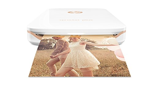HP Sprocket Plus Instant Photo Printer, Print 30% Larger Photos on 2.3×3.4 Sticky-Backed Paper – White (2FR85A)