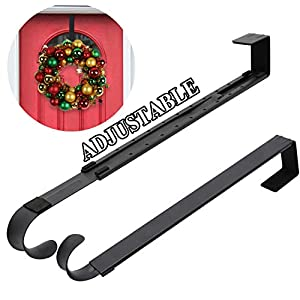 "Wreath Hanger,Adjustable Wreath Hanger for Front Door from 14.9-25"",20 lbs Larger Door Wreath Hanger Christmas Wreaths Decorations Hook(Black) 71"