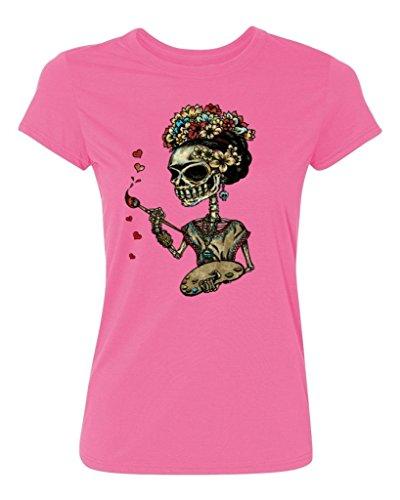 P&B Day Of The Dead Artist Sugar Skull Women's T-Shirt, XL, Azalea Pink