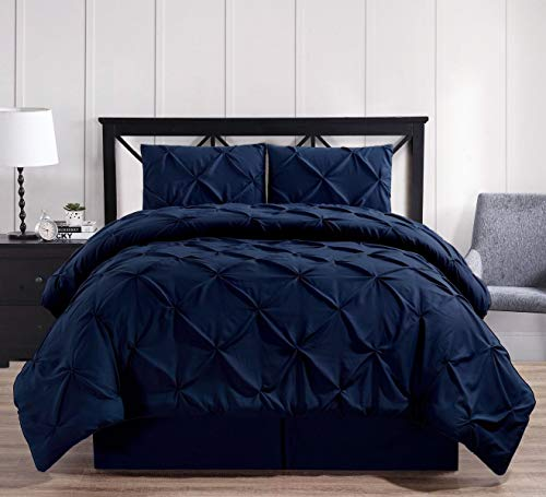 - Royal Hotel Oxford Decorative Pinch Pleat Comforter Set, 4 Pieces, Hypoallergenic Comforter, Down Alternative Fill, Queen, Navy