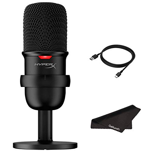 Newest HyperX SoloCast - USB Condenser Gaming Microphone for PC, PS4 and Mac, Tap-to-Mute Sensor, Cardioid Polar Pattern, Gaming, Streaming, Podcasts, Twitch, YouTube, Discord with GalliumPi Bundle