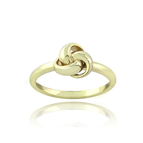 Yellow Gold Tone Flash over Sterling Silver Polished Love Knot Ring Size 10