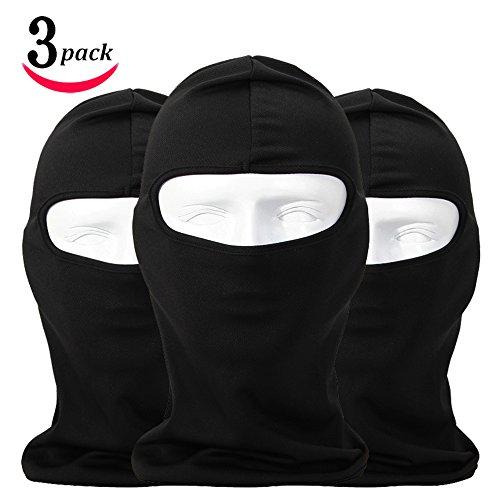 Lycra Fabrics Ski Face Mask Motorcycle Cycling Bike Bandana Hiking Skateboard Balaclava Black 3 Pack