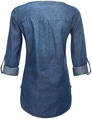 Only - Camisas - Túnica - Básico - Cuello Redondo - para Mujer Mezclilla De Color Azul Claro 46: Amazon.es: Ropa y accesorios
