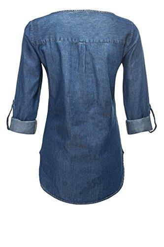 Only Chemisier Blue Femme Manches Denim Jean en Light Tunique Longues Chemisier rr74HTdxqw