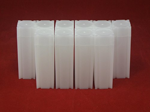 (10) Coinsafe Brand Square White Plastic (Nickel) Size Coin Storage Tube Holders