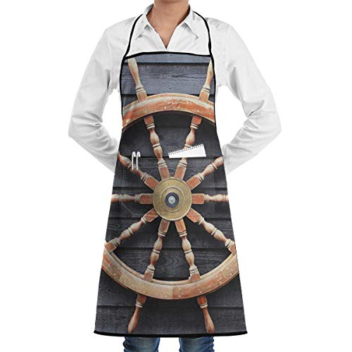 (Old Trawler Steering Wheel Captain Print Apron,Men and Women Fashion Apron Good for Kitchen,Picnic,Travel,Waterproof,)