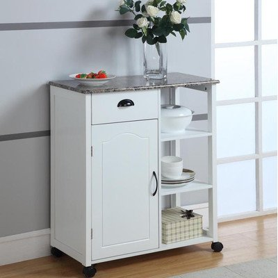 Inroom Designs Kitchen Cart With Marble Top Noticeable
